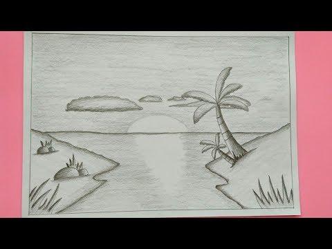 Cara Menggambar Pemandangan Alam Dengan Sangat Mudah Versi Pensil Youtube