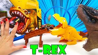 Escape da Mordida do Tiranossauro Rex! Pista Metal Machines T-Rex Attack