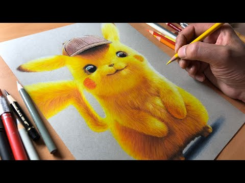 Drawing Detective Pikachu - Timelapse | Artology