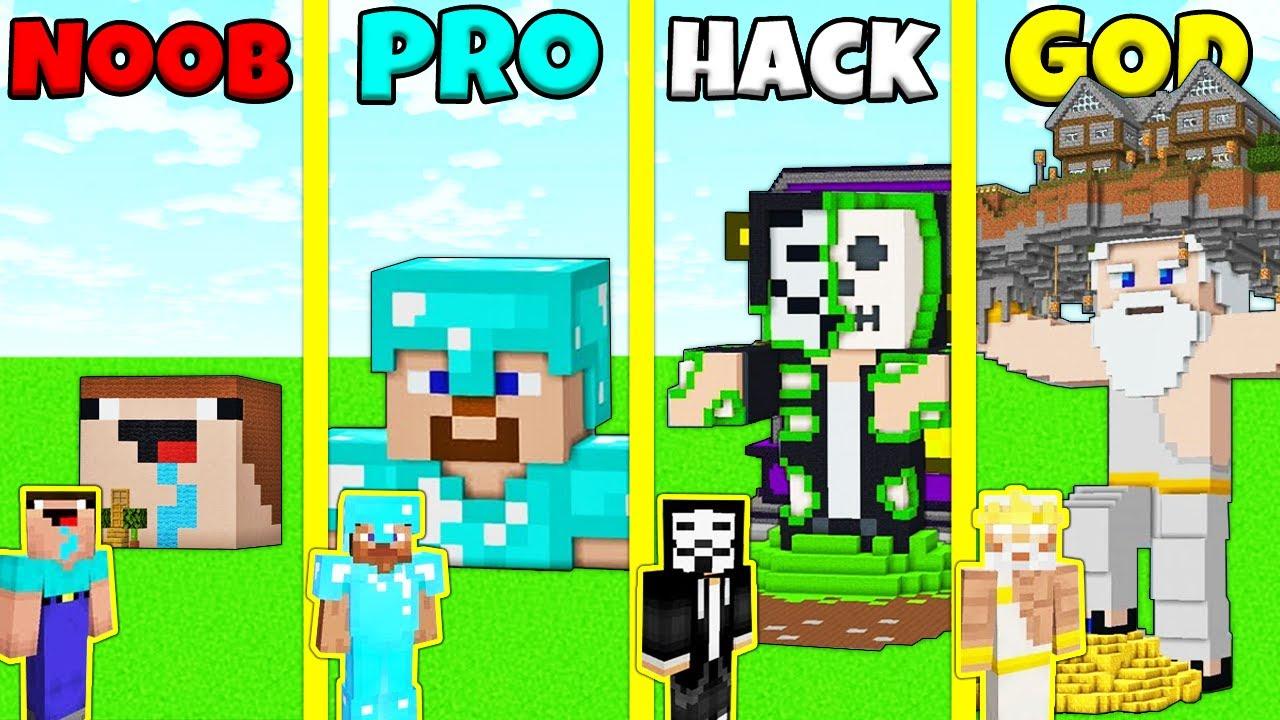 Minecraft Battle: NOOB vs PRO vs HACKER vs GOD: STATUE HOUSE BUILD CHALLENGE / Animation