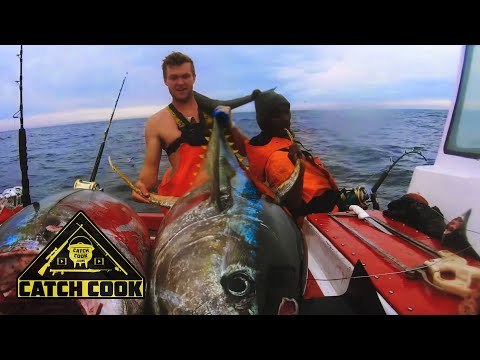 Heart-pumping Yellowfin Tuna Fishing With Delicious Cook [catch Cook] Cape Town, SA