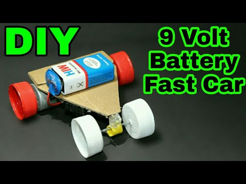 How to make 9 VOLT BATTERY FAST CAR | 2017 |DIY PROJECT