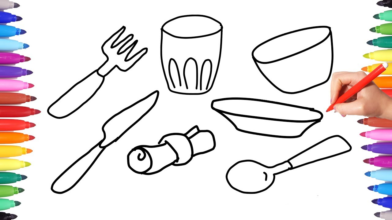 Coloring Pages Kitchen Set for Kids Learning Coloring