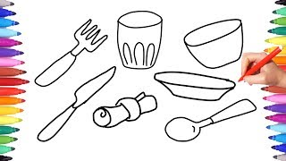 Coloring Pages Kitchen Set for Kids | Learning Coloring Table Set with Fork Tablespoon Knife Glass