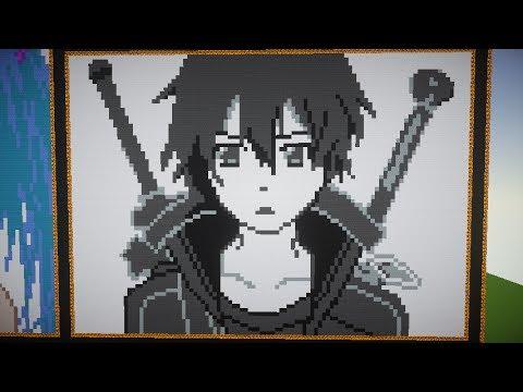 Kirito Sword Art Online Minecraft Pixelart