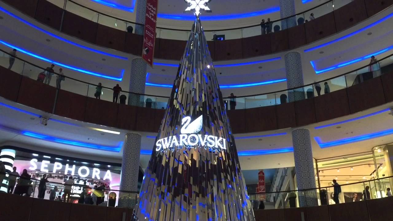 Swarovski Diamonds Christmas Tree Dubai Mall Uae The