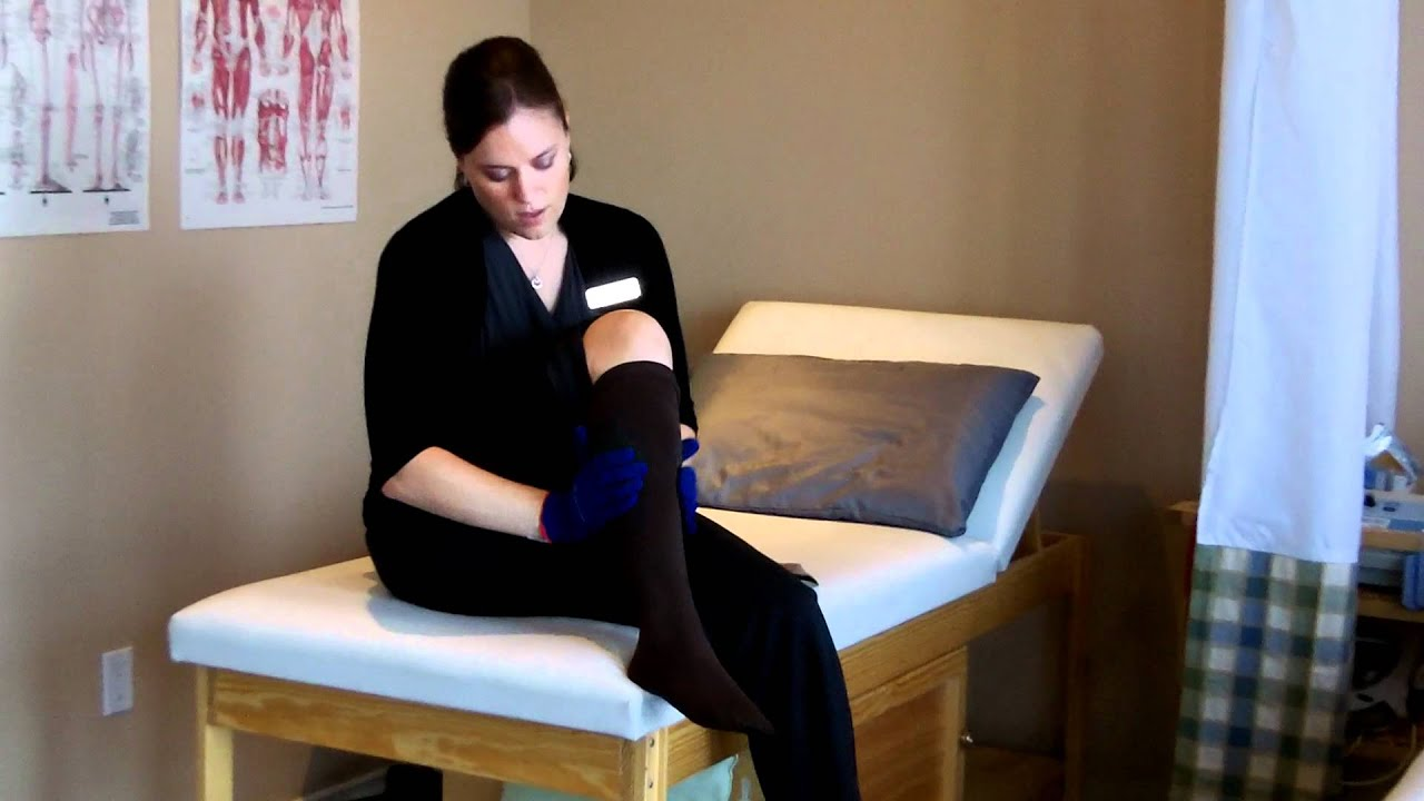 0bf459d56cf How to put on and take off compression stockings - YouTube