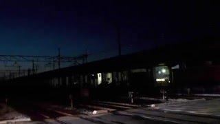 山陽本線・東岡山駅構内【窪田踏切】夜間(平成28年1月10日)