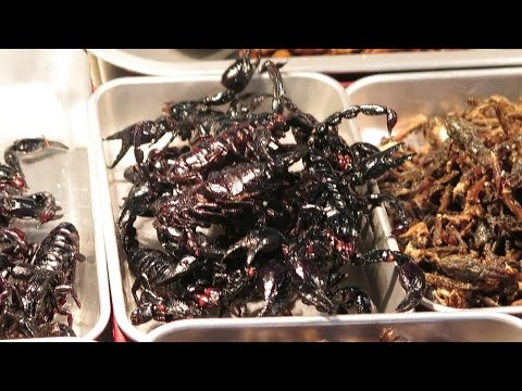 Eating Scorpions and Cockroaches. Bangkok Street Food, Thailand