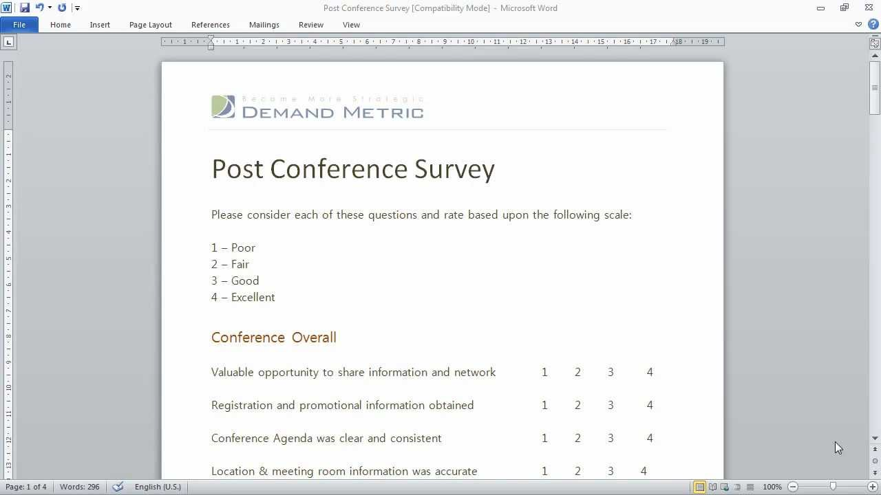 Post Conference Survey Template YouTube – Survey Template in Word