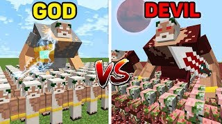 Minecraft GOD vs DEVIL : HUGE BATTLE Army in Minecraft