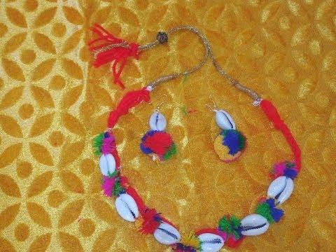 How to make Garba, Dandiya and Navratri special jewellery form pom pom and shells
