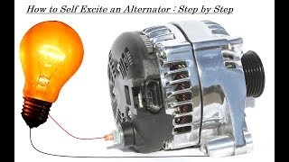 Self excite an alternator without any DC Generator, capacitor bank or battery