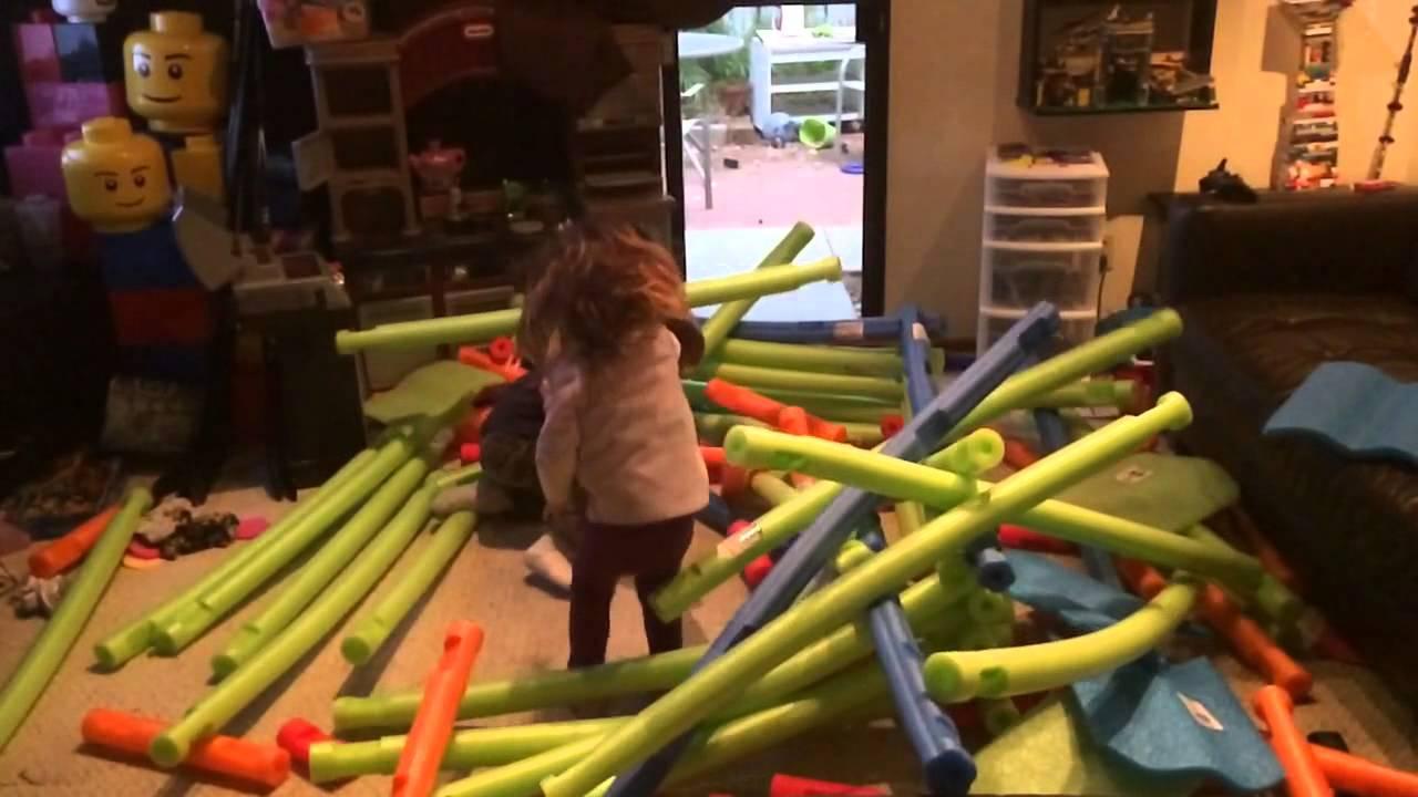 Pool Noodle Lincoln Log Destruction Youtube