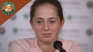 Jelena Ostapenko - Press Conference after defeat in Round 1 | Roland-Garros 2018