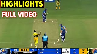 Chennai Super Kings vs Mumbai indians Full Match Highlights CSK VS MI FULL HIGHLIGHT