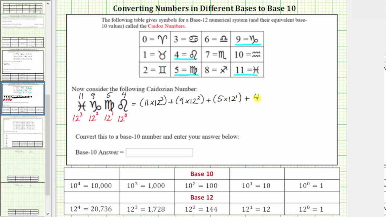 Convert A Base 12 Number To 10