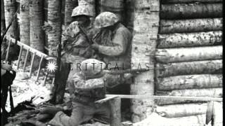 War scenes during Battle of Tarawa, World War II. HD Stock Footage