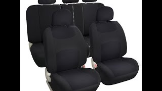 Leader Accessories Auto Brand  *Solid Black Cloth Seat Covers Set