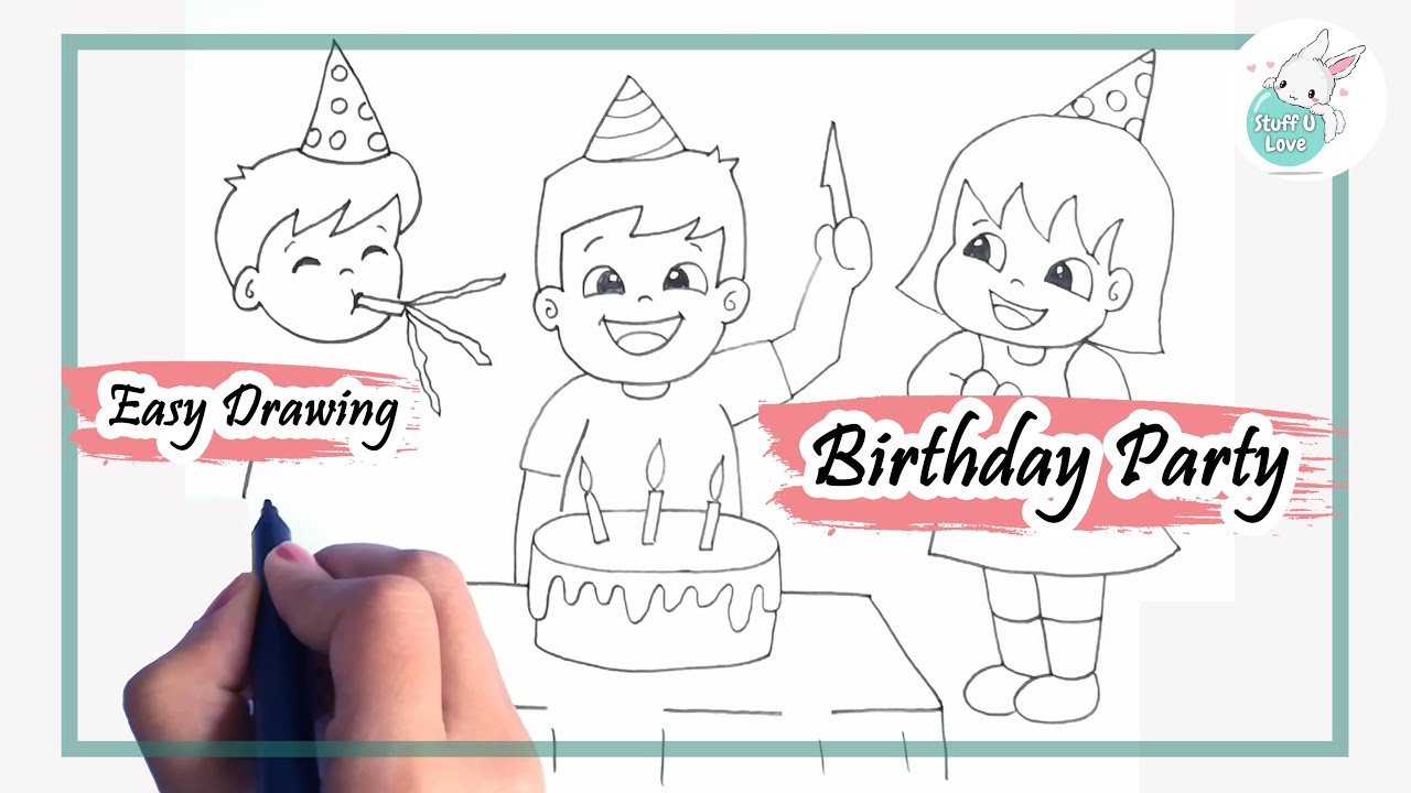 How To Draw Kids Celebrating Birthday Party Easy Drawing Tutorial