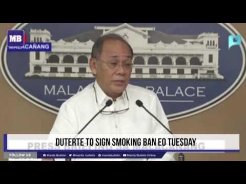 Duterte to sign smoking ban EO Tuesday