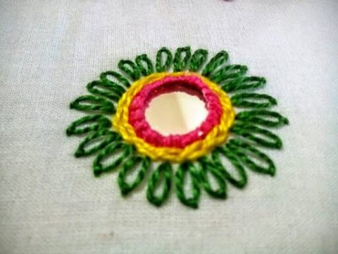 Hand Embroidery Mirror Work Tutorial Shisha Embroidery Design