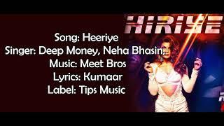 Heeriye - Deep Money & Neha Bhasin - Race 3 - Lyrics With English Translation