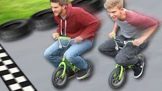Tiny Toy Bike Race!! (CRASHED)