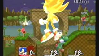 Brawl Hacks - Giant Growing Sonic/Super Sonic v.s. Mario and Yoshi