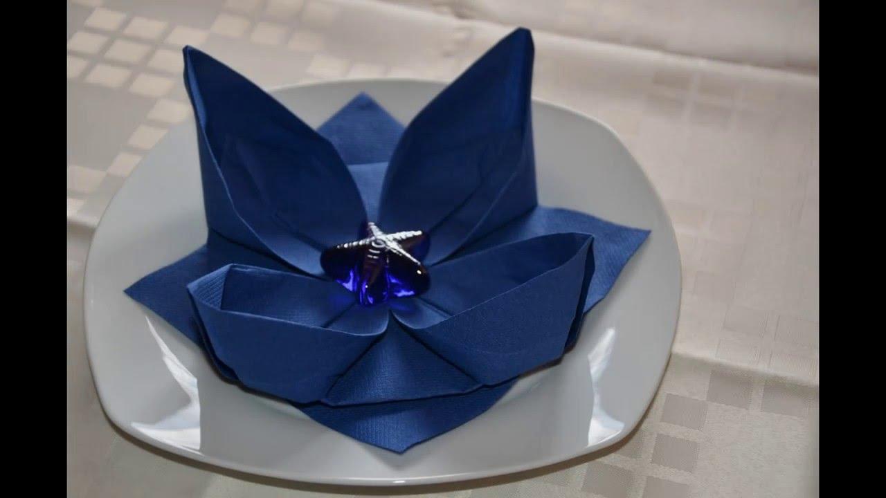 lilie lotusbl te blume falten hochzeitsdeko tischdeko servietten falten leicht gemacht. Black Bedroom Furniture Sets. Home Design Ideas