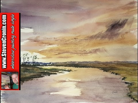Watercolour landscape painting using the large hake brush