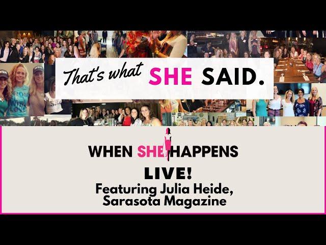 A conversation with Julia Heide, Sarasota Magazine