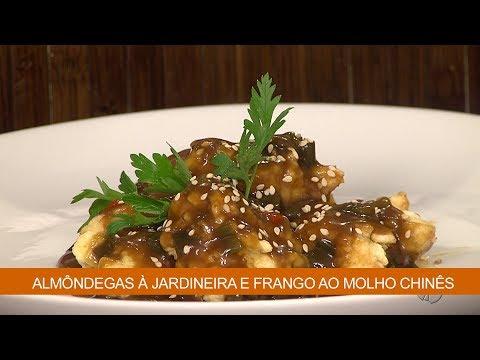 ALMÔNDEGAS À JARDINEIRA E FRANGO AO MOLHO CHINÊS