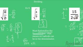 Algebra 2: Multiplying aฑd Dividing Radicals
