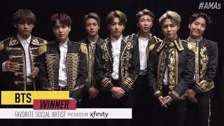 BTS (방탄소년단) Win The Favorite Social Artist Award @2018 AMAs + Acceptance Speech