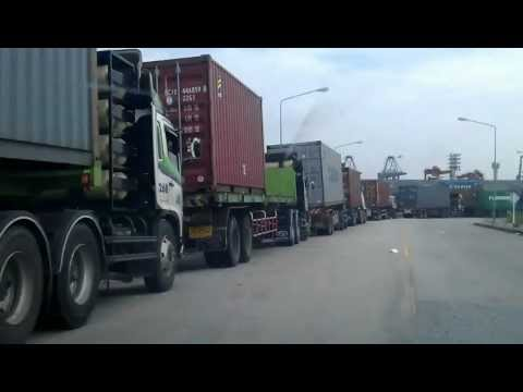 The Traffic to B2 (Evergreen Container Terminal) Leamchabang Sea Port, Thailand.