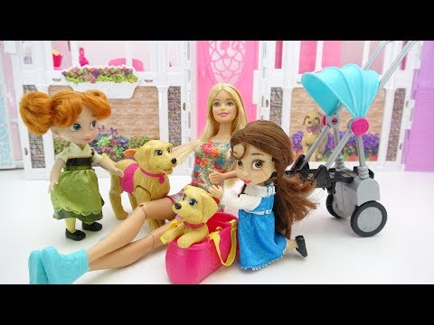 Disney Princesses Baby Dolls Belle Anna toddlers dog at the Pet Barbie puppy stroller