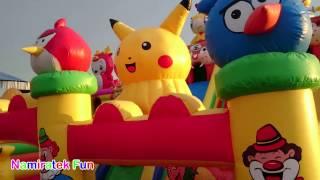 SERU! Bermain mainan anak Istana Balon Pikachu Pokemon - Playing Baloon Castle with many Friends