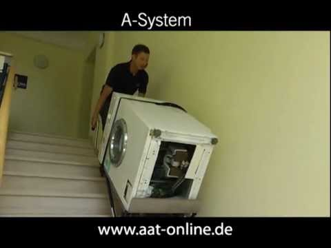 aat treppensteiger cargomaster a system transport einer waschmaschine youtube. Black Bedroom Furniture Sets. Home Design Ideas