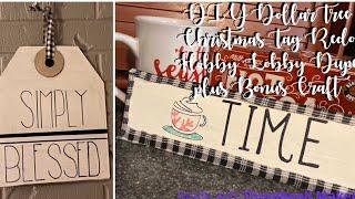 DIY Dollar Tree Christmas Tag Redo   Hobby Lobby Dupe plus Bonus Craft