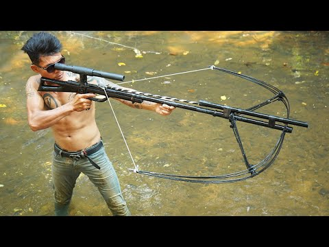 How To Make Giant Sniper Crossbowfishing From Whole Umbrella | DIY Sniper Crossbowfishing VS Cokes