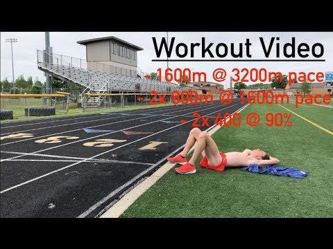 Track Workout Video! / 1600m, 2x 800m, & 2x 400! *hard workout*