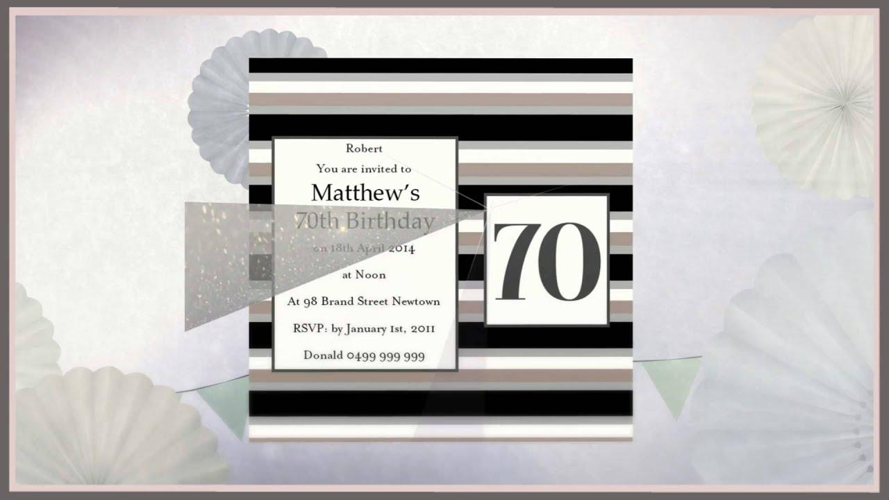70th Birthday Invitations - YouTube