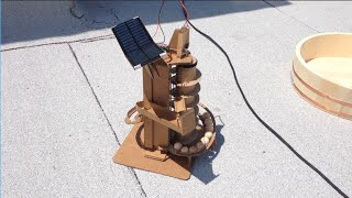 USB and solar powered marble machine made from cardboard