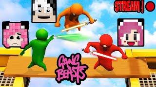 PANDA STREAM GAME BỰA CÙNG MỀU VÀ REDHOOD*GAME GANG BEASTS