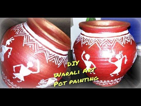 DIY Pot Painting | Warli Art | Step By Step Tutorial