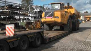 Loading of VOLVO Dumper A 40 on low-bed trailer.