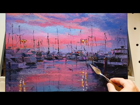 Boats Marina Twilight – How to – Oil Painting – Palette Knife | Brush – Perth Dock Harbour Dusan