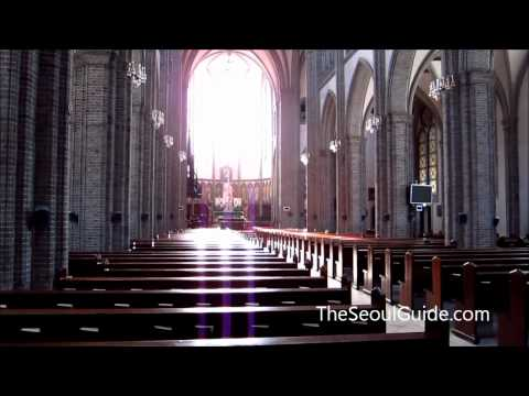 Outside And Inside Of Myeongdong Cathedral In Seoul, South Korea Travel Video