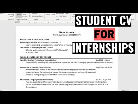 How To Write A Student CV/Resume For Internships